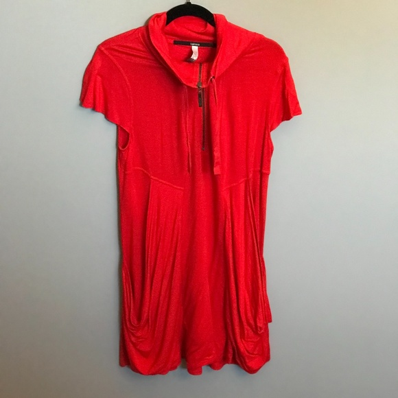 Comfy Bright Orange Tunic. Pockets and Zipper SZXL
